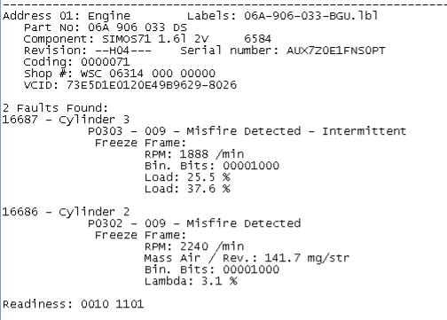Feilkoder A3 8P, misfire detected - intermittent - Teknisk